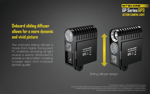 Nitecore GP3 360 Lumen CREE XP-G2 USB Rechargeable Action Camera Light