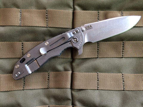 "Rick Hinderer XM-18 Spear Point Style Folding Knife w/ Gray Scale (3.5"" Blade)"