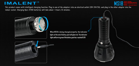 Imalent MS18 100,000 Lumen Flashlight x 18 CREE XHP 70.2 LEDs