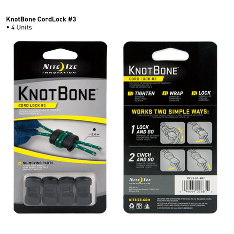 Nite Ize Knotbone Cordlock #3 4 Pk with Rope