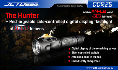 Jetbeam DDR26 1000 Lumen XM-L2 U2 Rechargeable 1 x 18650 Flashlight