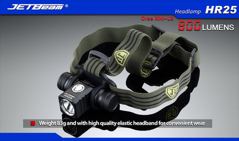 JETBeam HR25 1 x 18650 / 800 Lumens Cree XM-L2 Rechargeable LED Headlamp