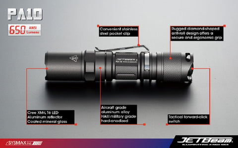 JetBeam PA10 CREE XM-L AA / 14500 650 Lumen Tactical Flashlight