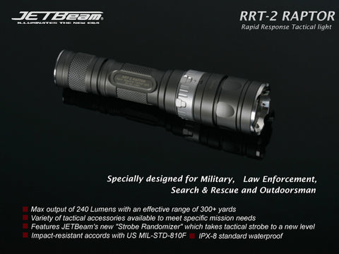 Jetbeam RRT-2 Raptor CREE R2 LED Flashlight - Gray