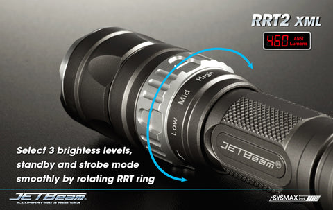 Jetbeam RRT-2 Raptor CREE XM-L2 LED Flashlight - Gray