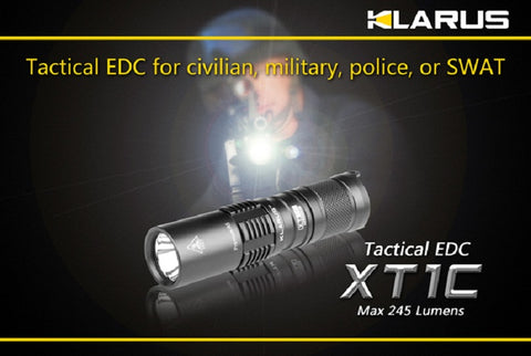 Klarus XT1C XP-G R5 LED CR123 245 Lumen Tactical Flashlight w/ Clip