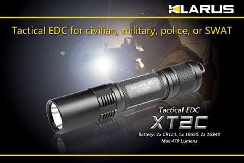 Klarus XT2C CREE XM-L T6 Dual Switch Tactical LED Flashlight w/ Clip