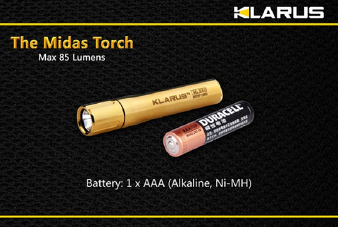 Klarus X6 The Midas Torch Gold Plated AAA XP-G R5 Flashlight