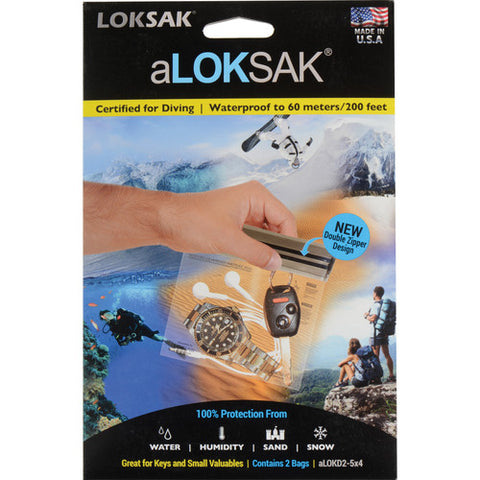 "Aloksak Waterproof Bags - 5"" x 4"" 2 Pack"