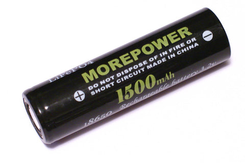 MorePower 1500 mAh LiFePo4 Rechargeable Battery