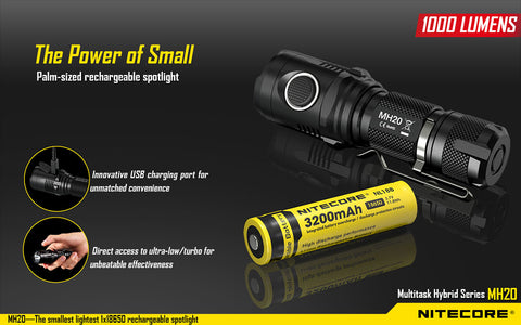 Nitecore MH20 1x 18650 / 2x CR123 1000 Lumens Cree XM-L2 U2 LED USB Rechargeable Flashlight