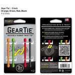Nite Ize Gear Tie 3 inch - Assorted 4pk