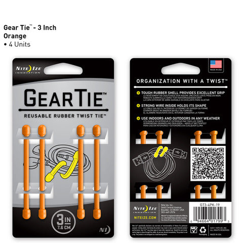 Nite Ize Gear Tie 3 inch - Orange 4pk