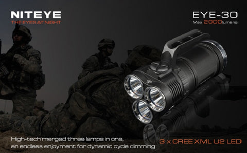 Niteye EYE30 Triple CREE XM-L U2 LED 2000 Lumen Flashlight