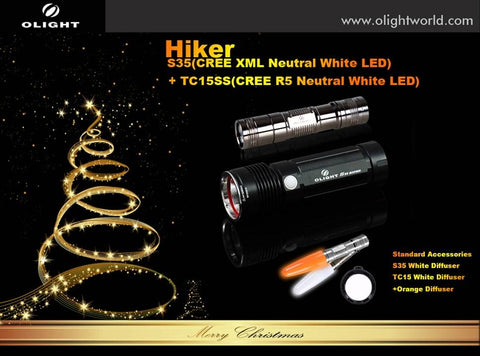 Olight Hiker Holiday Set - S35 Baton Neutral White Flashlight and TC15SS Stainless Steel Flashlight w/ Accessories