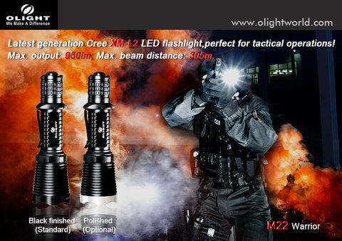 Olight M22 Warrior CREE XM-L2 950 Lumen 1 x 18650/2 x CR123 LED Flashlight