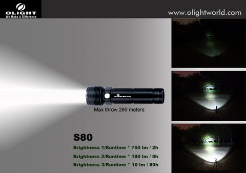Olight S80 Baton Rechargeable XM-L 750 Lumen LED Flashlight