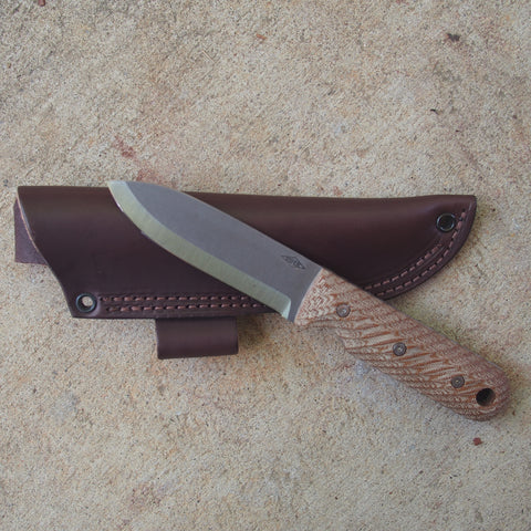 "Battle Horse Knives Bushcrafter Scandi Removeable Natural Handles Fixed Blade Knife (4"" Blade)"
