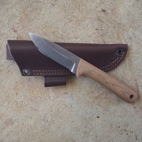 "Battle Horse Knives Woodsman Pro-Saber Natural Bead Blasted Fixed Blade Knife (4"" Blade)"
