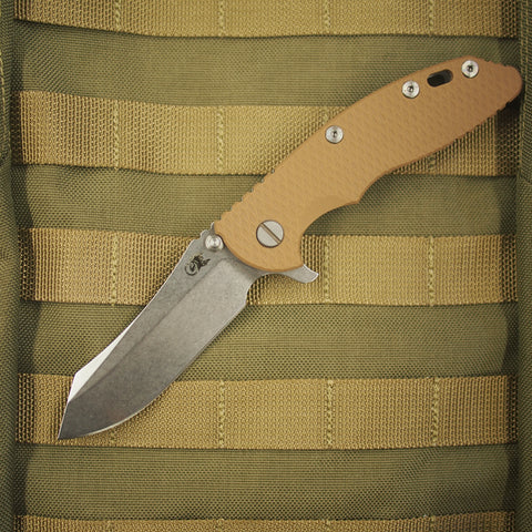 "Rick Hinderer XM-18 S35VN Skinner Folding Knife w/ Coyote Brown Scale (3.5"" Blade)"