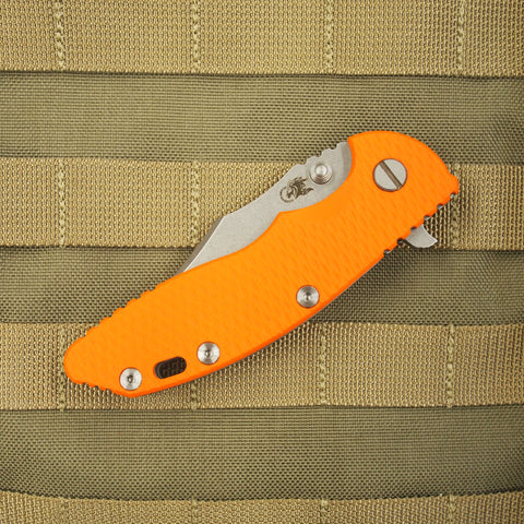 "Rick Hinderer XM-18 Bowie Style Folding Knife w/ Orange Scale (3.5"" Blade)"