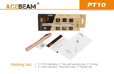 Acebeam PT10 Copper 360 Lumen 2 x AAA Cree XP-L HD LED Flashlight