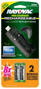 Rayovac USB Charger w/ 2 Low Self Discharge AA NiMh Batteries