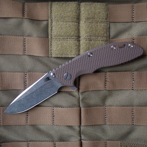 "Rick Hinderer XM-18 S35VN Spear Point Style Folding Knife w/ Flat Dark Earth Scale (3.5"" Blade)"