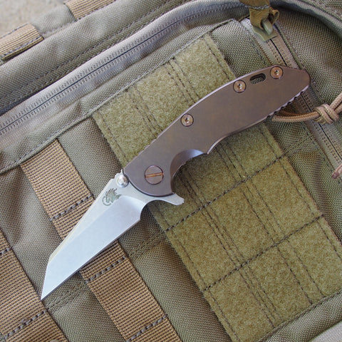 "Rick Hinderer XM-18 Wharncliffe Folding Knife w/ Titanium Bronze Scale (3"" Blade)"