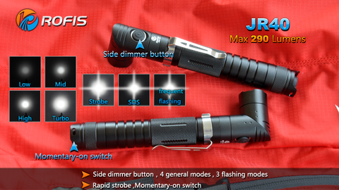 Rofis JR40 CREE XP-G2 290 Lumen 2 x AA Rotating Angle LED Flashlight