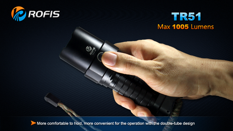 Rofis TR51 CREE XM-L2 1005 Lumen 4 x CR123A / 2 x 18650 LED Flashlight