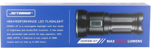 Jetbeam DDR30 GT 4 x 18650 / 3680 Lumens CREE XHP70 LED Flashlight