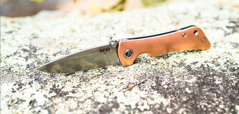 "Southern Grind Copper Spider Monkey Drop Point Tumbled Satin S35VN Folding Knife (3.25"" Blade)"