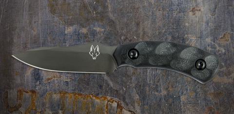 Southern Grind Jackal Pup Black PVD Coated Blade & Black Handle W/ Kydex Sheath Fixed Blade Knife