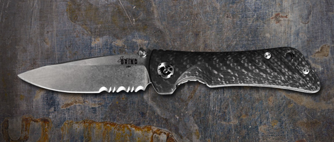 "Southern Grind Spider Monkey Drop Point Tumbled Satin Serrated S35VN Carbon Fiber Folding Knife (3.25"" Blade)"