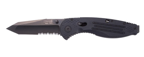 SOG Aegis Tanto 1/2 Serrated Assisted Opening Knife - Black TiNi