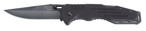 SOG Salute Lockback Folding Knife Black Oxide - 3.625in Blade