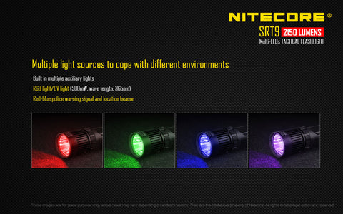 Nitecore SRT9 2150 Lumen 2 x 18650 CREE XHP50 LED Multi-Color Flashlight
