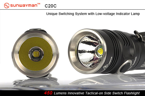 Sunwayman C20C CREE XM-L2  2 x CR123 / 1 x 18650 481 Lumen LED Side Switch Flashlight