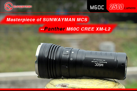 Sunwayman M60C Panther Triple CREE XM-L2 2500 Lumen Flashlight