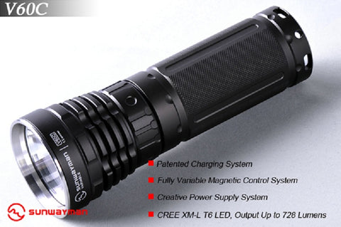 Sunwayman V60C 728 Lumen Rechargeable Variable Flashlight