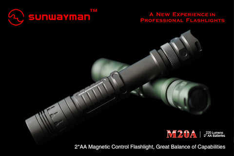 Sunwayman M20A LED Flashlight with CREE R5 220 Lumens 2 x AA