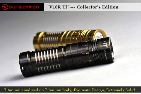 Sunwayman V10R Ti 2 Collector's Edition XM-L U2 Variable Output 1 CR123 LED Flashlight - Black