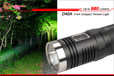 Sunwayman D40A Neutral White CREE XM-L2 980 Lumen 4 x AA LED Flashlight