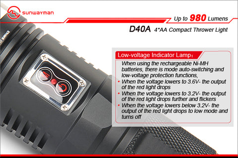 Sunwayman D40A CREE XM-L2 980 Lumen 4 x AA Battery LED Flashlight