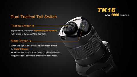 Fenix TK16 1x 18650 / 2x CR123A 1000 Lumens CREE XM-L2 LED Flashlight