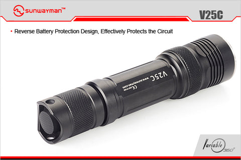 Sunwayman V25C 2 x CR123A/ 1 x 18650 CREE XM-L2 780 Lumen 360 Degree Fully Variable Magnetic Control LED Flashlight
