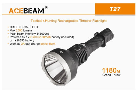 Acebeam's Ultra Long Thrower T27 2,500 Lumen XHP 35 HI LED 1180 Meters Beam