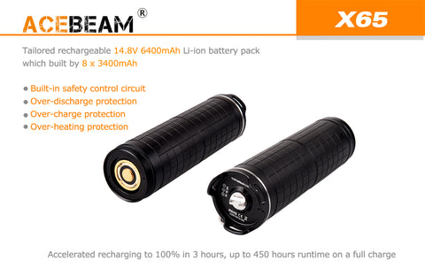 Acebeam X65 12,000 Lumen Rechargeable Battery Pack CREE XHP35 LED Flashlight