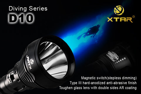 XTAR Diving Series D10 CREE XM-L U2 LED 800 Lumen 100m Dive Flashlight